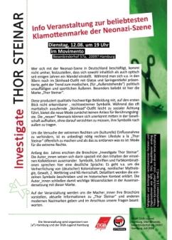kleiner Flyer für die Infoveranstaltung am 12.08.08 in Hamburg